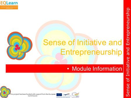 Sense of Initiative and Entrepreneurship This project has been funded with support from the European Commission. Module Information Sense of Initiative.