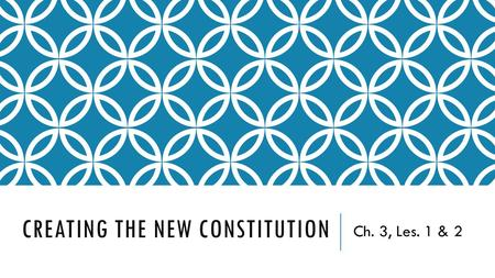 CREATING THE NEW CONSTITUTION Ch. 3, Les. 1 & 2. THE COUNTRY'S FIRST GOVERNMENTS  State Constitutions  Once the colonists declared independence, they.