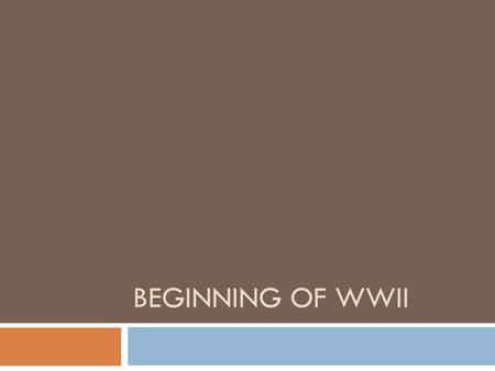 BEGINNING OF WWII. WWI end to WWII beginning  Germany felt that the war guilt clause was unfair  Lost overseas colonies which meant no raw goods to.