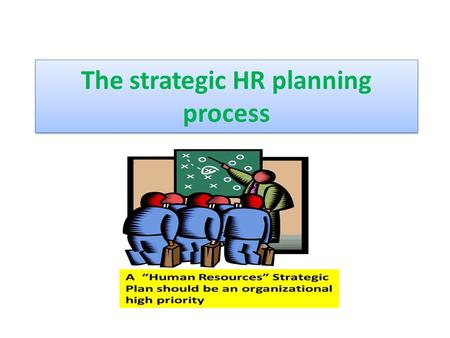 The strategic HR planning process. The Process of Human Resource Planning Organizations need to do human resource planning so they can meet business objectives.