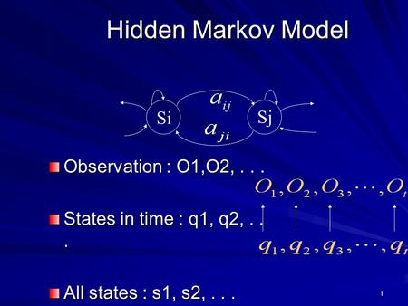 1 Hidden Markov Model Observation : O1,O2,... States in time : q1, q2,... All states : s1, s2,... Si Sj.