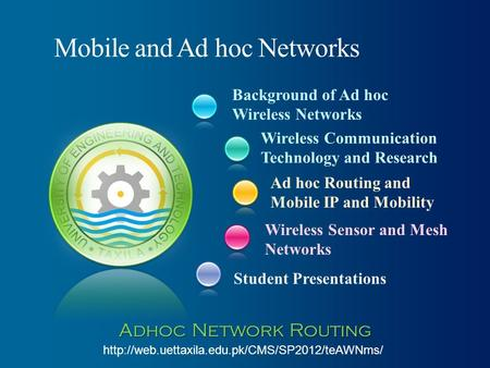 Background of Ad hoc Wireless Networks Student Presentations Wireless Communication Technology and Research Ad hoc Routing and Mobile IP and Mobility Wireless.