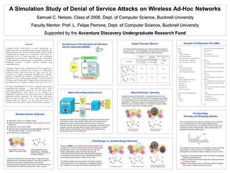 SWAN simulation A Simulation Study of Denial of Service Attacks on Wireless Ad-Hoc Networks Samuel C. Nelson, Class of 2006, Dept. of Computer Science,