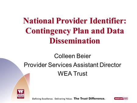 National Provider Identifier: Contingency Plan and Data Dissemination Colleen Beier Provider Services Assistant Director WEA Trust.