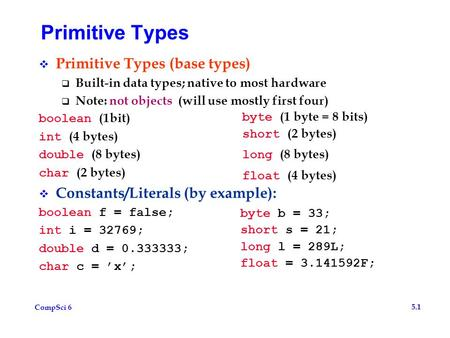 CompSci 6 5.1 Primitive Types  Primitive Types (base types)  Built-in data types; native to most hardware  Note: not objects (will use mostly first.