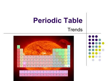 Periodic Table Trends. Trends of the Periodic Table: At the conclusion of our time together, you should be able to: 1. Give a trend across and down the.