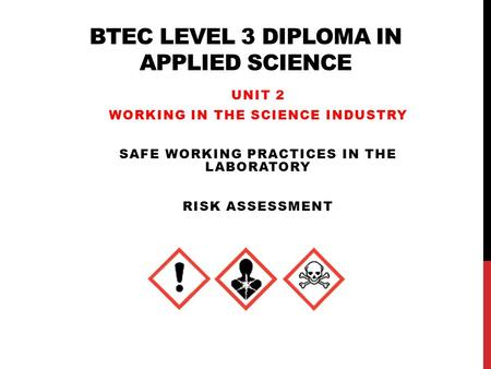 BTEC Level 3 Diploma in Applied Science
