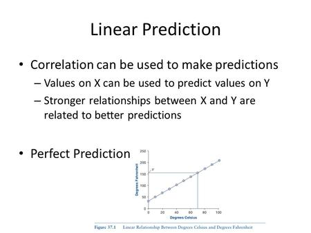 Linear Prediction Correlation can be used to make predictions – Values on X can be used to predict values on Y – Stronger relationships between X and Y.