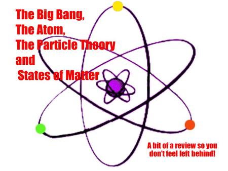 The Big Bang, The Atom, The Particle Theory and States of Matter A bit of a review so you don't feel left behind!