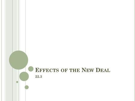 E FFECTS OF THE N EW D EAL 22.3. O BJECTIVES Describe how the New Deal affected different groups in American society. Analyze how the New Deal changed.