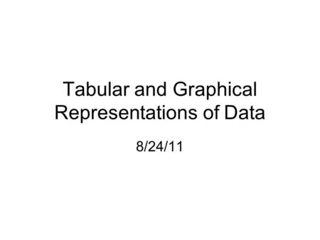 Tabular and Graphical Representations of Data 8/24/11.