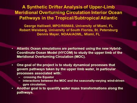 A Synthetic Drifter Analysis of Upper-Limb Meridional Overturning Circulation Interior Ocean Pathways in the Tropical/Subtropical Atlantic George Halliwell,