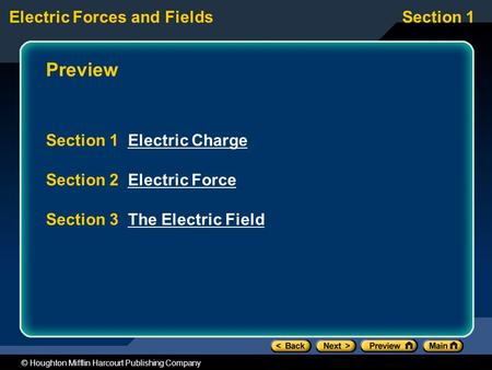 Electric Forces and FieldsSection 1 © Houghton Mifflin Harcourt Publishing Company Preview Section 1 Electric ChargeElectric Charge Section 2 Electric.