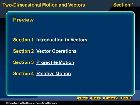 Preview Section 1 Introduction to Vectors Section 2 Vector Operations