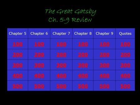 The Great Gatsby Ch. 5-9 Review Chapter 5Chapter 6Chapter 7Chapter 8Chapter 9Quotes 100 200 300 400 500.
