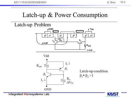 11-1 Integrated Microsystems Lab. EE372 VLSI SYSTEM DESIGNE. Yoon Latch-up & Power Consumption Latch-up Problem Latch-up condition  1   2 >1 GND Vdd.