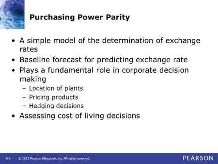 law of one price and purchasing power parity analysis The purchasing power parity exchange rate is the exchange rate between two currencies' that would equate the two relevant national price levels if expressed in common currency at that rate, so that ppp of a unit of one currency would be the same in both countriesthe basic concept underlying ppp theory is that arbitrage forces will lead to.