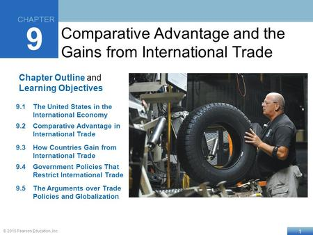 1 © 2015 Pearson Education, Inc. Chapter Outline and Learning Objectives 9.1The United States in the International Economy 9.2Comparative Advantage in.