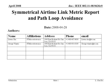 Doc.: IEEE 802.11-08/0636r0 Submission April 2008 L. Chu Etc.Slide 1 Symmetrical Airtime Link Metric Report and Path Loop Avoidance Date: 2008-04-28 Authors: