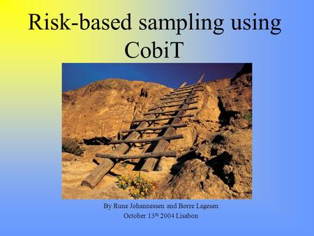 Risk-based sampling using CobiT By Rune Johannessen and Børre Lagesen October 13 th 2004 Lisabon.