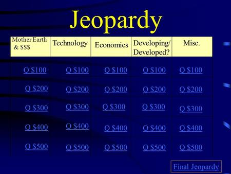 Jeopardy Mother Earth & $$$ Technology Economics Misc. Q $100 Q $200 Q $300 Q $400 Q $500 Q $100 Q $200 Q $300 Q $400 Q $500 Final Jeopardy Developing/