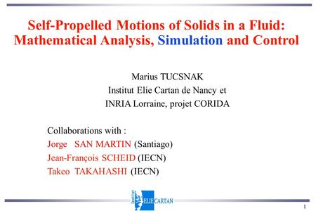 1 Self-Propelled Motions of Solids in a Fluid: Mathematical Analysis, Simulation and Control Marius TUCSNAK Institut Elie Cartan de Nancy et INRIA Lorraine,