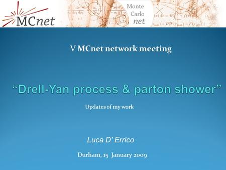 V MCnet network meeting Durham, 15 January 2009 Luca D' Errico Updates of my work.