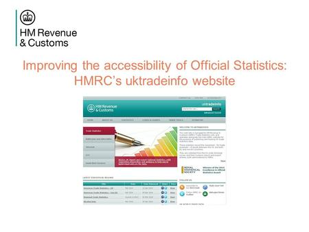 Improving the accessibility of Official Statistics: HMRC's uktradeinfo website.