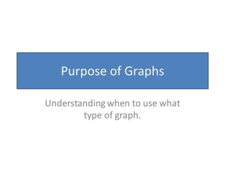 Purpose of Graphs Understanding when to use what type of graph.
