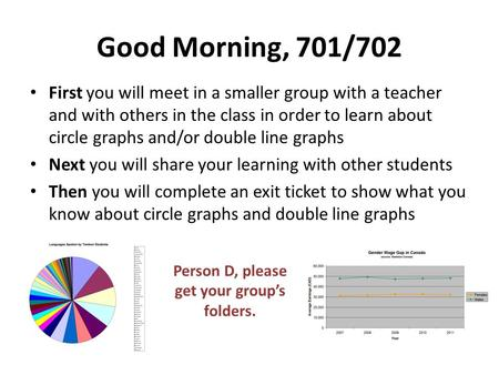 Good Morning, 701/702 First you will meet in a smaller group with a teacher and with others in the class in order to learn about circle graphs and/or double.
