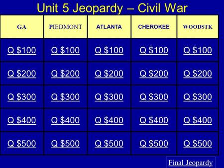 Unit 5 Jeopardy – Civil War Final Jeopardy GAPIEDMONT ATLANTACHEROKEE WOODSTK Q $100 Q $200 Q $300 Q $400 Q $500.