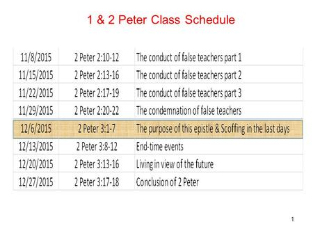 1 1 & 2 Peter Class Schedule. 2 1 This is now, beloved, the second letter I am writing to you in which I am stirring up your sincere mind by way of reminder,