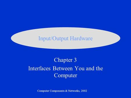 Chapter 3 Interfaces Between You and the Computer Computer Components & Networks, 2002 Input/Output Hardware.