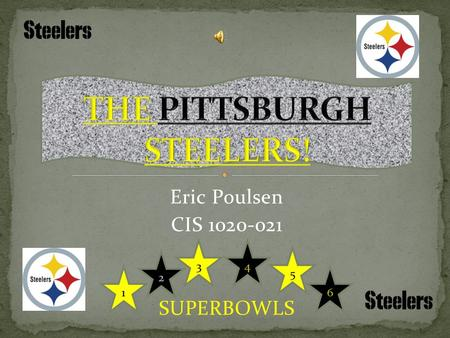 Eric Poulsen CIS 1020-021 SUPERBOWLS. Founded in 1933 by Art Roony as Pittsburgh Pirates Oldest franchise in the AFC Fifth oldest franchise in the NFL.