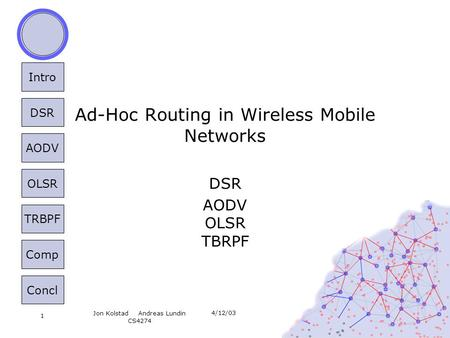 Intro DSR AODV OLSR TRBPF Comp Concl 4/12/03 Jon KolstadAndreas Lundin CS4274 1 Ad-Hoc Routing in Wireless Mobile Networks DSR AODV OLSR TBRPF.