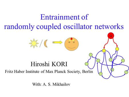 Entrainment of randomly coupled oscillator networks Hiroshi KORI Fritz Haber Institute of Max Planck Society, Berlin With: A. S. Mikhailov 