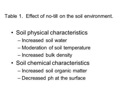 Table 1. Effect of no-till on the soil environment. Soil physical characteristics –Increased soil water –Moderation of soil temperature –Increased bulk.