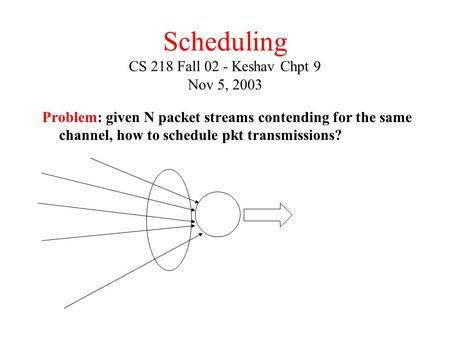 Scheduling CS 218 Fall 02 - Keshav Chpt 9 Nov 5, 2003 Problem: given N packet streams contending for the same channel, how to schedule pkt transmissions?