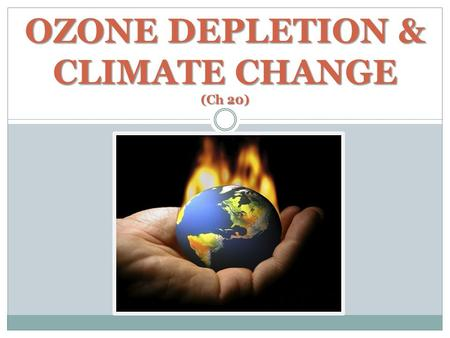 OZONE DEPLETION & CLIMATE CHANGE (Ch 20). ELECTROMAGNETIC SPECTRUM.