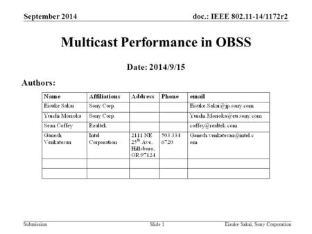 Doc.: IEEE 802.11-14/1172r2 Submission September 2014 Eisuke Sakai, Sony CorporationSlide 1 Multicast Performance in OBSS Date: 2014/9/15 Authors: