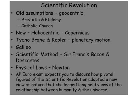 AP European History Scientific Revolution