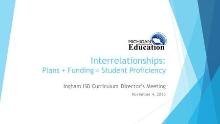 Interrelationships: Plans + Funding = Student Proficiency Ingham ISD Curriculum Director's Meeting November 4, 2015.