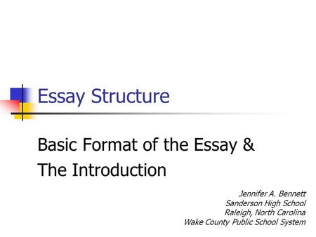 the basic essay structure