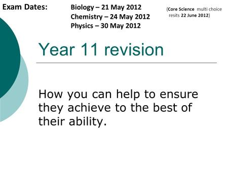 Year 11 revision How you can help to ensure they achieve to the best of their ability. Exam Dates: Biology – 21 May 2012 Chemistry – 24 May 2012 Physics.