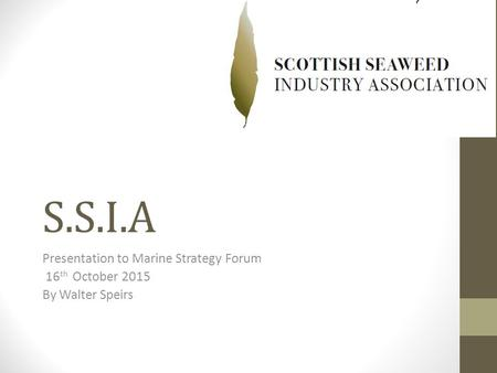 S.S.I.A Presentation to Marine Strategy Forum 16 th October 2015 By Walter Speirs.