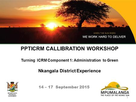 PPTICRM CALLIBRATION WORKSHOP Turning ICRM Component 1: Administration to Green Nkangala District Experience 14 – 17 September 2015 WHEN THE SUN RISES.