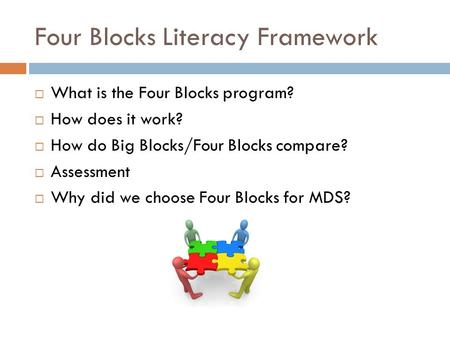 Four Blocks Literacy Framework  What is the Four Blocks program?  How does it work?  How do Big Blocks/Four Blocks compare?  Assessment  Why did we.