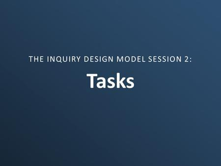 Tasks THE INQUIRY DESIGN MODEL SESSION 2:. Tasks in IDM Summative Performance Tasks Formative Performance Tasks Summative extensions Taking informed action.