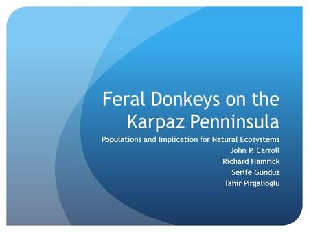 Feral Donkeys on the Karpaz Penninsula Populations and Implication for Natural Ecosystems John P. Carroll Richard Hamrick Serife Gunduz Tahir Pirgalioglu.