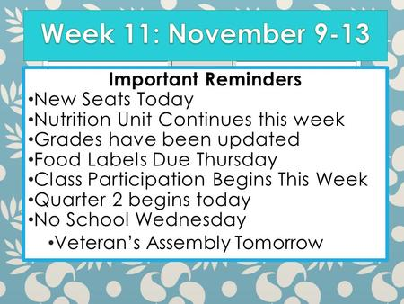 Important Reminders New Seats Today Nutrition Unit Continues this week Grades have been updated Food Labels Due Thursday Class Participation Begins This.